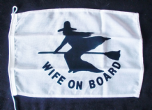 WIFE ON BOARD NAUTICAL FLAG :  30cm x 20cm
